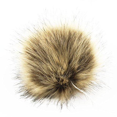 1pc Faux Fox Fur 4.3inch Fluffy Pom pom Ball W/Cord for Hat Scarves Accessories DIY (Brown)