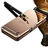 Vandot Sony Xperia Z3 Mirror Case,Luxury Elegant Ultra Thin Slim Fit Metal Aluminum Frame Bumper Reflective Effect Hard Back Cover Pattern [Non-slip] [Shock Absorbent] Protective Skin Shell-Rose Gold