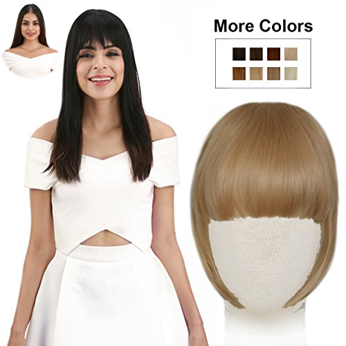 (REECHO Fashion Full Length Synthetic One Piece Layered Clip in Hair Bangs/Fringe/Hair Extensions Color - Light Golden)
