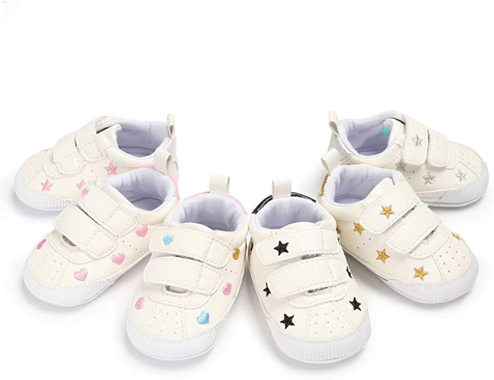 Baby Shoes Creative Lovely Stars Heart Magic Tape Comfortable Infant Baby Soft Sole Prewalker Toddler Shoes Multicolor Heart 12cm