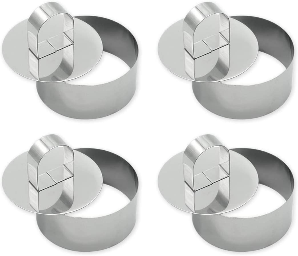 DS. DISTINCTIVE STYLE Cake Molds 4 Pieces 3.1 Inches Stainless Steel Small Cake Ring with Pusher Round Mousse Mold Mini Baking Ring