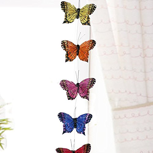 Butterfly Hanging Garland with Feather Wings - Teenage - Hanging Butterflies