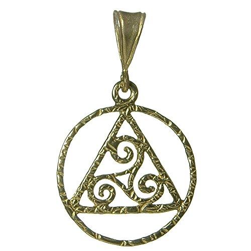 Alcoholics Anonymous AA Symbol Pendant, #1171, AA Textured Pendant with Celtic Symbol (brass) (Brass Celtic Pendant)