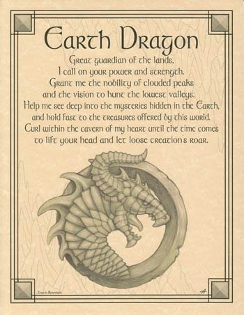Home Wall Artwork Prayer Earth Dragon Small Parchment Paper Poster Framing Size Print -