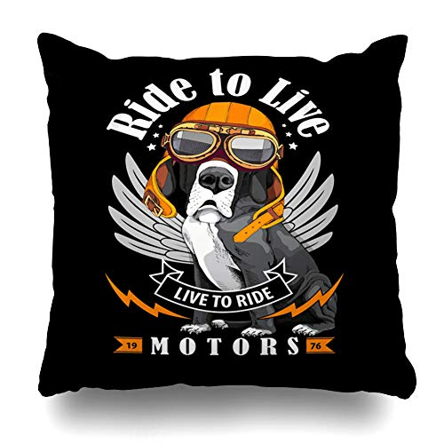 Ahawoso Throw Pillow Covers Garage Motorcycle Great Dane Dog Biker Goggles Helmet Old Pilot Bike Design Pet Zippered Pillowcase Square Size 16 x 16 Inches Home Decor Cushion Case]()