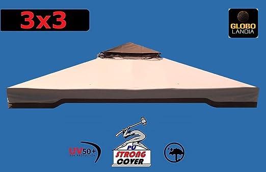 EUROLANDIA Telo Ecru//Caffelatte per Copertura Gazebo 3X3 450 GR Ricambio Camino Antivento Antipioggia 3 X 3