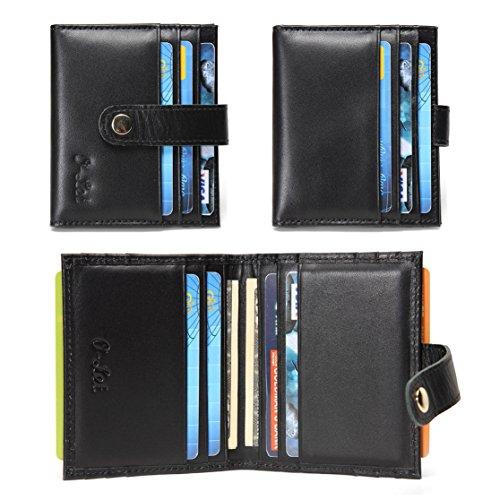 O-LET Credit Card Holder for Women Men RFID Genuine Leather Slim Minimalist Front Pocket Card Case Wallet w/ 12 Card Slots (Black)