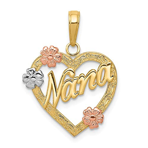14k Tri Color Yellow White Gold Nana In Heart Flowers Pendant Charm Necklace Grma Love S/love Message Fine Jewelry Gifts For Women For Her