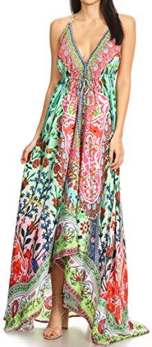 Sakkas 1817 - Lizi Womens Maxi High-Low Halter Handkerchief Long Dress Beach Party - TM208-Multi - OS