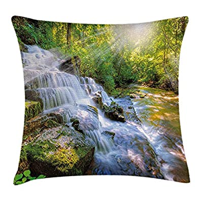 ZQKCMY Waterfall Decor Throw Pillow Cushion Cover by, Majestic Waterfall in Pleasant Hill Kentucky Heavenly Stairs and Sun, Decorative Square Accent Pillow Case, 18 X 18 Inches, Green and White