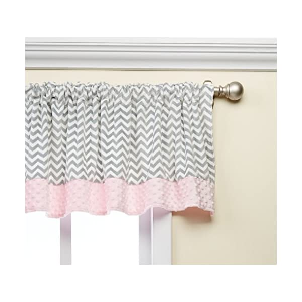 Baby Doll Bedding Minky Chevron Window Valance, Pink