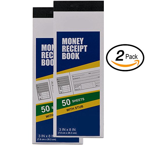 "Emraw 3""X8"" inch Money Receipt 50 Sheets Book with Instant Copy Stub (2-Pack)"