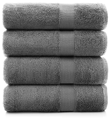 Premium Turkish Cotton Wide Lined Border Eco-Friendly and Long Stable Bath Towel (Gray, Set of 4)