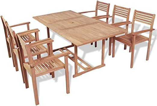 Xinglieu Set de Comedor para Exteriores 7 Unidades de Madera de Teca Juego de sillas y Mesa de jardín Mesa y sillas de jardín: Amazon.es: Jardín
