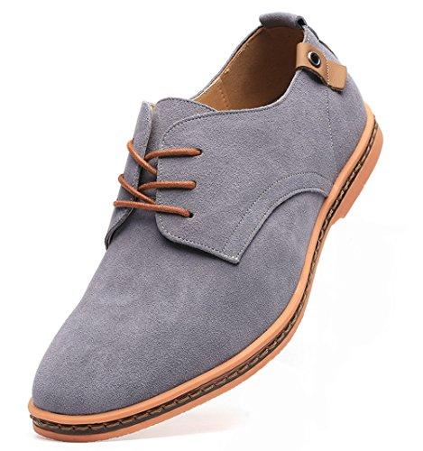 Dadawen Men's Grey Leather Oxford Shoe - 9.5 D(M) US