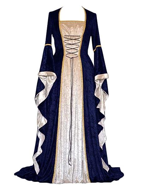 Medieval mangas Largas Vintage Renacentista Encantador Mujer xeCoQBWrd