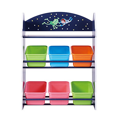 5624ec52c01a Fantasy Fields - Outer Space Kids' Toy Organizer with 6 Storage Bins, Blue