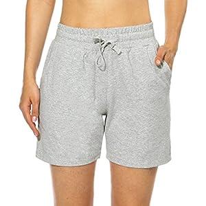 BALEAF Women's 5″ Casual Jersey Cotton Shorts Lounge Yoga Pajama Walking Shorts with Pockets Activewear