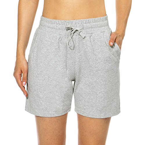 Baleaf Women's Activewear Yoga Gym Lounge Shorts with Pockets Light Gray Size S
