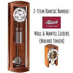 Qwirly 2-Item Hermle Clock Bundle: Hermle MORNINGTON Mechanical Regulator Wall Clock & Hermle Patterson Mechanical Table Clock (Walnut)