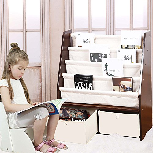 MallBest Childrens Bookshelf Kids Sling Book Rack with Two Storage Boxes and Toys Organizer Shelves Natural Solid Wood Baby Bookcase by MallBest (Image #8)