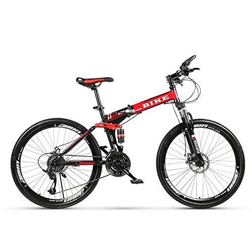 Novokart-Deportes Plegables/Bicicleta de montaña radios de Rueda de 24/26 Pulgadas, Negro&Rojo