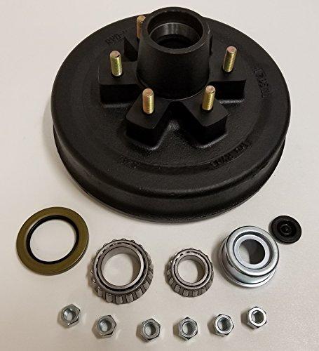 Trailer Brake Hub Drum Kit 12 in. x 2 w/ Bearings, Seal, Cap, Lugs (6 on 5.5)