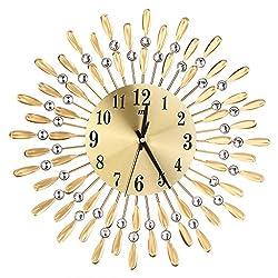 Misright Luxury Diamond Home Large Wall Mounted Metal Clock Living Room Art Office Decor (Gold)
