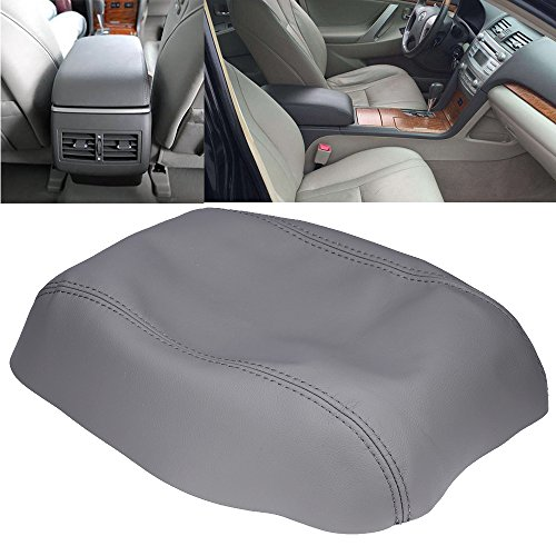 (QKPARTS Armrest Center Console Lid Cover Microfiber Leather Fits for Toyota Camry 2007-2011 Gray)