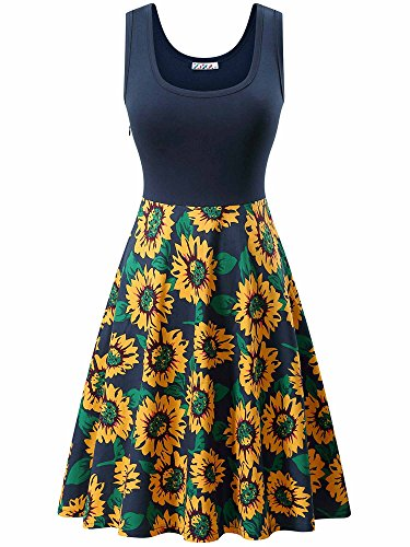 A Dress Neck Dress line Scoop Midi Sunflower Navy Cocktail Party KIRA Women's Vintage Tank Sleeveless w8WHX0