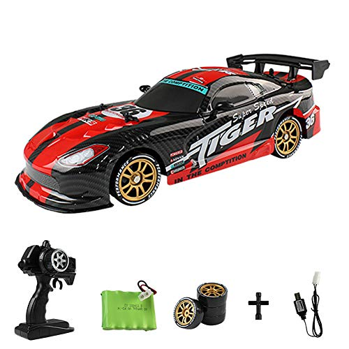 TTShonf 1/16 4WD 2.4GHz RTR RC Racing Drift Car Rechargeable Vehicle with LED Lights Toy Red