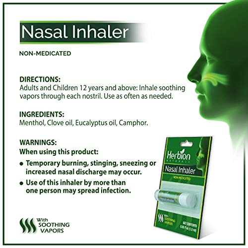 Herbion Naturals Nasal Inhaler Non-Medicated, 0.05 Fl Oz (1.5ml) - Relieves Nasal Congestion & Blockage, Sinusitis & Allergic Conditions - Menthol, Clove Oil, Eucalyptus Oil & Camphor.