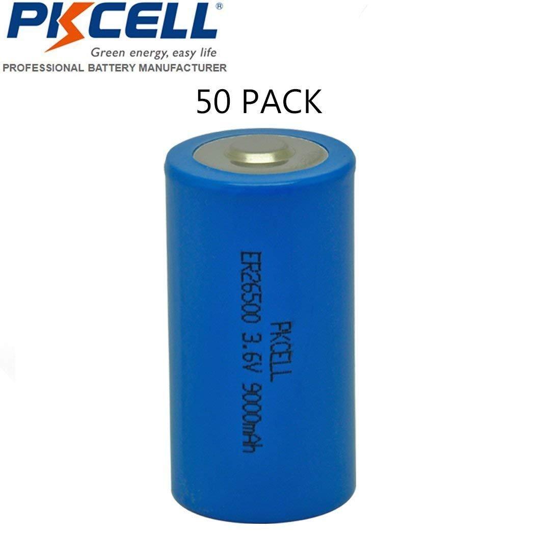 C Size 26500 ER26500 3.6V 9000mAh Li-SOCl2 Battery (50pcs) by PK Cell (Image #1)