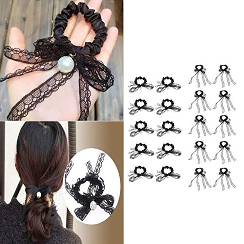 20pcs Elastic Hair Ties Band Ropes Ring Crystal Ponytail Holder Bowknot Lace -