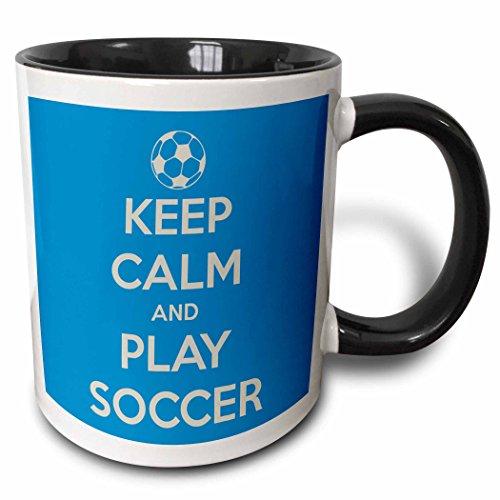 Soccer Coffee Mug (3dRose Keep clam and play soccer, Blue - Two Tone Black Mug, 11oz (mug_159643_4), 11 oz, Black/White)