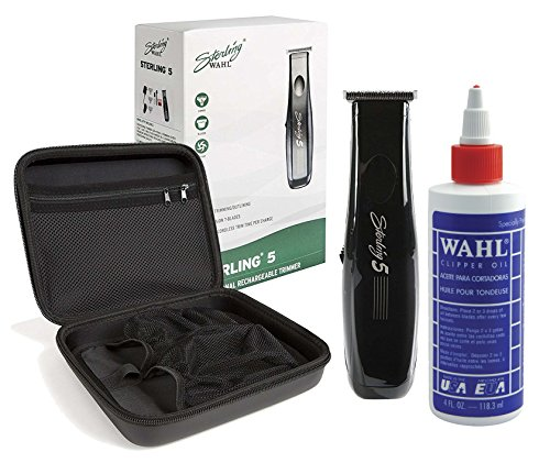 4 Clipper Ounce (Wahl Professional Sterling 5 Trimmer #8777 with Travel Storage Case #90728 and 4oz Clipper Oil #03310 Great for Barbers and Stylists)