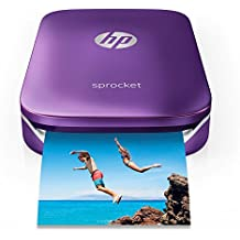 "HP Sprocket Portable Photo Printer, Print Social Media Photos on 2x3"" Sticky-Backed Paper - Purple (Z9L25A)"