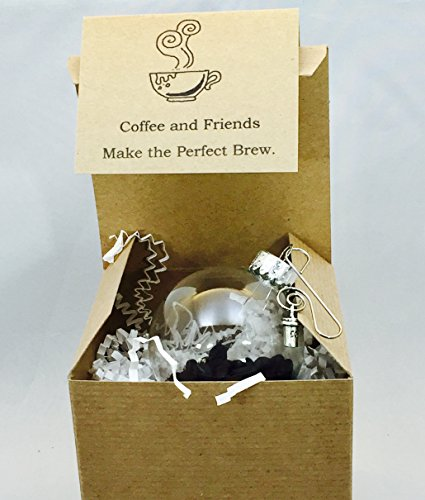 Mocha Java Accent - Coffee Bean and Coffee Cup Mug Charm Glass Globe Ornament Gift card and box included by Dorinta