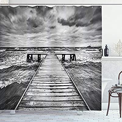 Amazon Com Ambesonne Landscape Shower Curtain Old Wooden Deck In Storm Waves Sea Dramatic Sky Dark Heavy Clouds Print Cloth Fabric Bathroom Decor Set With Hooks 70 Long Black White Home Kitchen