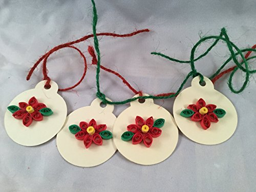 Quilled Poinsettia Gift Tags - Set of 4