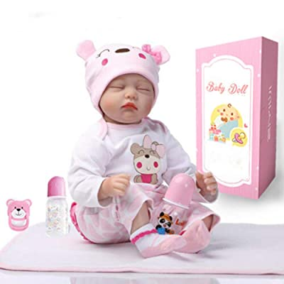 AIBAOLIAN Silicona Suave Vinilo 22 Pulgadas 55cm Muñeca Reborn Bebé Niña Natural Bebé Durmiendo Juguetes de Niño y Niña Los Mejores Regalos de Los Niños Reborn Doll: Juguetes y juegos