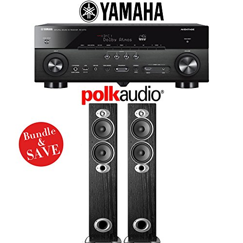 Yamaha AVENTAGE RX-A770BL 7.2-Ch 4K Network AV Receiver +  Pair of Polk Audio RTI A5 High Performance Floorstanding Loudspeakers - Bundle