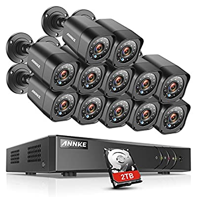 ANNKE 16-Channel Security Camera System HD-TVI 1080P Lite Video DVR and (12) 1.0MP Indoor/Outdoor Weatherproof Cameras with IR Night Vision LEDs- 2TB HDD