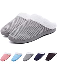 Women's Memory Foam House Slippers Cashmere Cotton Knitted Anti-Slip Indoor Shoes