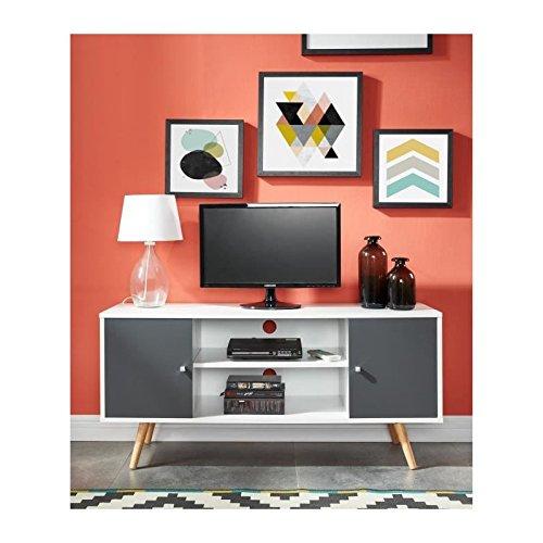 Petit Meuble TV 116 cm - Blanc et gris foncé - design et pas cher