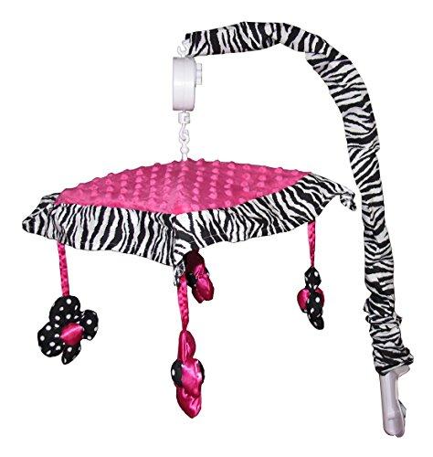Mobile Zebra Pink Musical - Musical Mobile for Hot Pink Zebra Baby Bedding Set