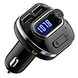 VicTsing V4.1 Bluetooth FM Transmitter for Car ( Upgraded Version ), Hands-Free Car Kit, Dual USB Ports, Car Charger, 4 Playing Modes Support Bluetooth Connection, Aux Output, TF Card and U-Disk, Voltage Detection, Black