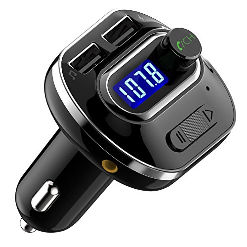 VicTsing (Upgraded Version) V4.1 Bluetooth FM Transmitter for Car, Wireless In-Car Bluetooth Adapter, Bluetooth Radio Transmitter Support Aux Input Output, TF Card and U-Disk, Hands-Free calls (Best Car Cassette Adapter For Iphone)