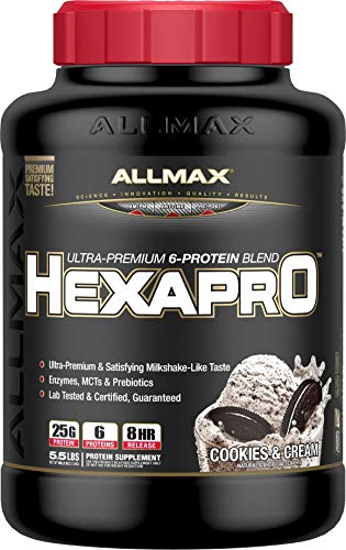 ALLMAX Nutrition Hexapro Protein Blend, Cookies & Cream, 5.5 lbs