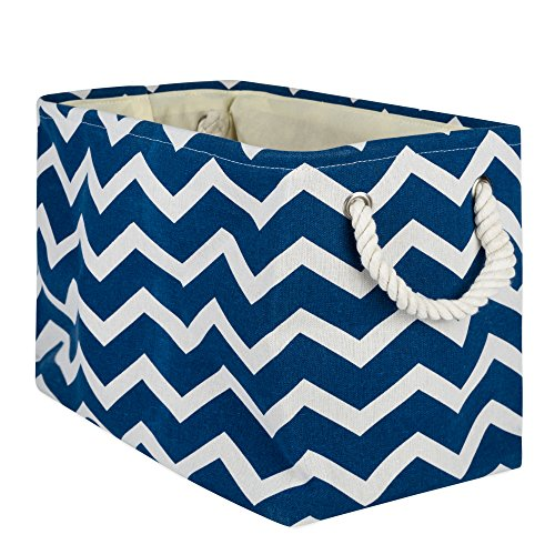 DII Collapsible Polyester Storage Basket or Bin with Durable Cotton Handles, Home Organizer Solution for Office, Bedroom, Closet, Toys, Laundry(Large - 18x12x15), Navy Chevron